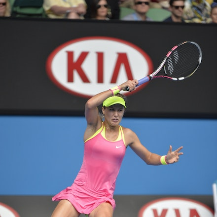 _PB13872 - 2015 25th January. Day 7 of the Australian Open Tennis. Eugenie Bouchard (CAN) defeats Irena-Camelia Begu 6-1 5-7 6-2 Bouchard in action