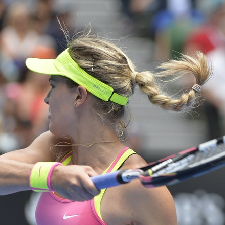 _PB13943 - 2015 25th January. Day 7 of the Australian Open Tennis. Eugenie Bouchard (CAN) defeats Irena-Camelia Begu 6-1 5-7 6-2 Bouchard in action