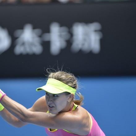 _PB13956 - 2015 25th January. Day 7 of the Australian Open Tennis. Eugenie Bouchard (CAN) defeats Irena-Camelia Begu 6-1 5-7 6-2 Bouchard in action