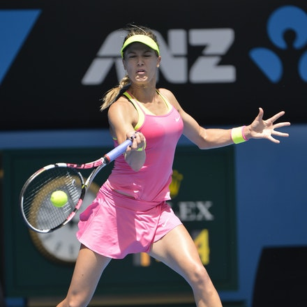 _PB14013 - 2015 25th January. Day 7 of the Australian Open Tennis. Eugenie Bouchard (CAN) defeats Irena-Camelia Begu 6-1 5-7 6-2 Bouchard in action