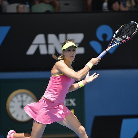 _PB14014 - 2015 25th January. Day 7 of the Australian Open Tennis. Eugenie Bouchard (CAN) defeats Irena-Camelia Begu 6-1 5-7 6-2 Bouchard in action