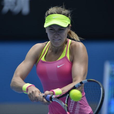 _PB14084 - 2015 25th January. Day 7 of the Australian Open Tennis. Eugenie Bouchard (CAN) defeats Irena-Camelia Begu 6-1 5-7 6-2 Bouchard in action