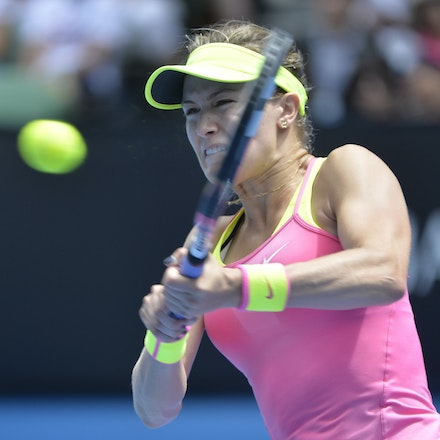 _PB14094 - 2015 25th January. Day 7 of the Australian Open Tennis. Eugenie Bouchard (CAN) defeats Irena-Camelia Begu 6-1 5-7 6-2 Bouchard in action