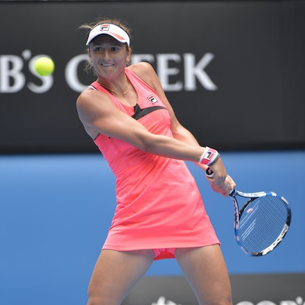 _PB14116 - 2015 25th January. Day 7 of the Australian Open Tennis. Eugenie Bouchard (CAN) defeats Irena-Camelia Begu 6-1 5-7 6-2 Begu in action