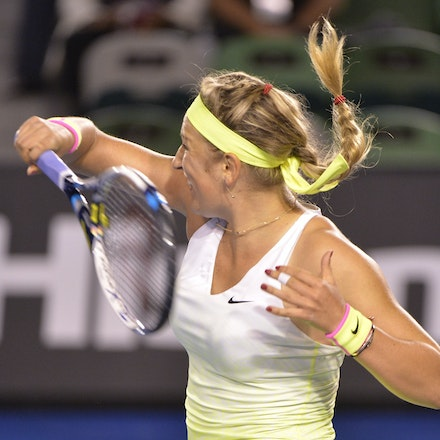 _PB16652 - 2015 26th January. Day 8 of the Australian Open Tennis. Dominika Cibulkova (SVK) defeats Victoria Azarenka (BLR) 6-2 3-6 6-3 Azarenka in action