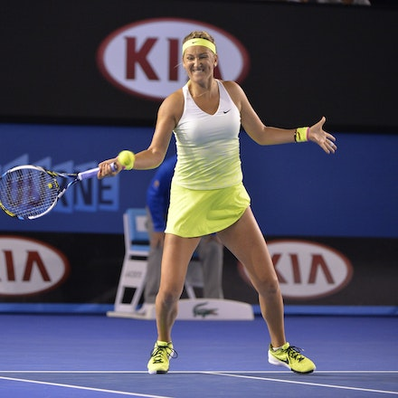 _PB16702 - 2015 26th January. Day 8 of the Australian Open Tennis. Dominika Cibulkova (SVK) defeats Victoria Azarenka (BLR) 6-2 3-6 6-3 Cibulkova in action