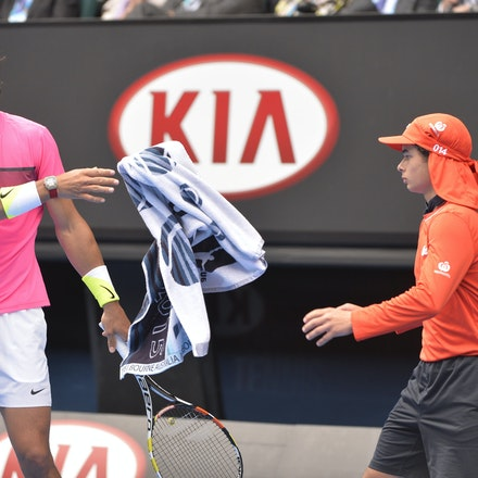 _PB10223 - 2015 27th January. Day 9 of the Australian Open Tennis. Tomas Berdych (CZE) defeats Rafeal Nadal (SPA) in straight sets 6-2 6-0 7-6 Nadal in...