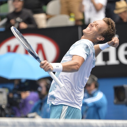 _PB10293 - 2015 27th January. Day 9 of the Australian Open Tennis. Tomas Berdych (CZE) defeats Rafeal Nadal (SPA) in straight sets 6-2 6-0 7-6 Berdych...