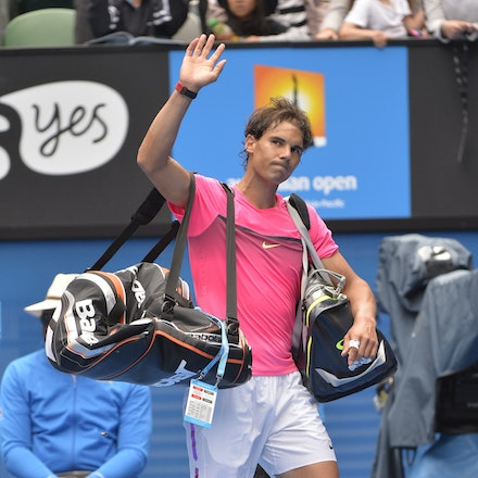 _PB10327 - 2015 27th January. Day 9 of the Australian Open Tennis. Tomas Berdych (CZE) defeats Rafeal Nadal (SPA) in straight sets 6-2 6-0 7-6 Nadal in...