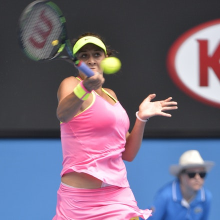 _PB10705 - 2015 28th January. Day 10 of the Australian Open Tennis. Madison Keys (USA) defeats Venus Williams (USA) 6-3 4-6 6-4 Keys in action
