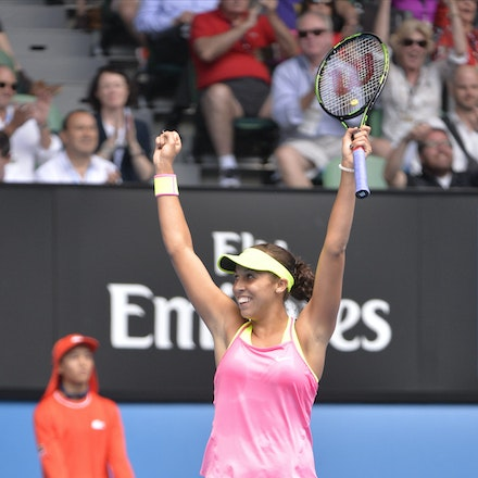 _PB10723 - 2015 28th January. Day 10 of the Australian Open Tennis. Madison Keys (USA) defeats Venus Williams (USA) 6-3 4-6 6-4 Keys in action