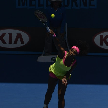 _PB10811 - 2015 28th January. Day 10 of the Australian Open Tennis. Serena Williams (USA) defeats Dominica Cibulkova in straight sets 6-2 6-2. Williams...