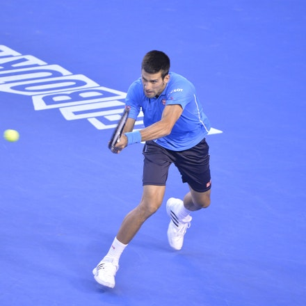_PB14840 - 2015 30th January. Day 12 of the Australian Open Tennis. Novak Djokovic (SBR) defeats Stan Wawrinka (SUI) 7-6 3-6 6-4 4-6 6-0 Djokovic in action