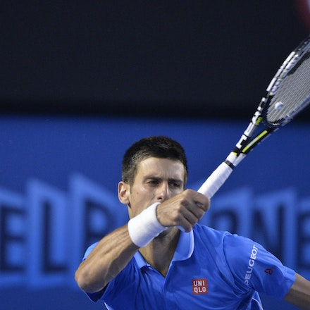 _PB14909 - 2015 30th January. Day 12 of the Australian Open Tennis. Novak Djokovic (SBR) defeats Stan Wawrinka (SUI) 7-6 3-6 6-4 4-6 6-0 Djokovic in action