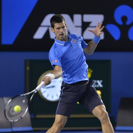 _PB14977 - 2015 30th January. Day 12 of the Australian Open Tennis. Novak Djokovic (SBR) defeats Stan Wawrinka (SUI) 7-6 3-6 6-4 4-6 6-0 Djokovic in action