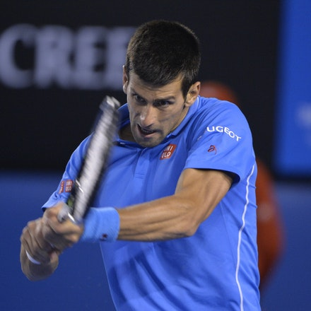 _PB14945 - 2015 30th January. Day 12 of the Australian Open Tennis. Novak Djokovic (SBR) defeats Stan Wawrinka (SUI) 7-6 3-6 6-4 4-6 6-0 Djokovic in action