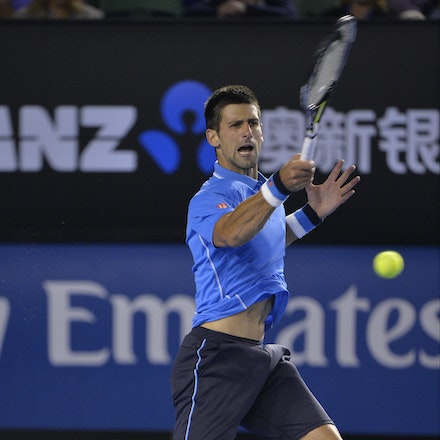 _PB15127 - 2015 30th January. Day 12 of the Australian Open Tennis. Novak Djokovic (SBR) defeats Stan Wawrinka (SUI) 7-6 3-6 6-4 4-6 6-0 Djokovic in action