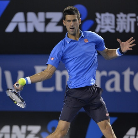 _PB15126 - 2015 30th January. Day 12 of the Australian Open Tennis. Novak Djokovic (SBR) defeats Stan Wawrinka (SUI) 7-6 3-6 6-4 4-6 6-0 Djokovic in action