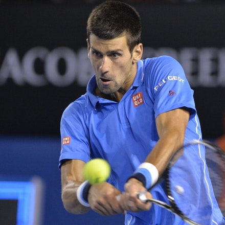 _PB15134 - 2015 30th January. Day 12 of the Australian Open Tennis. Novak Djokovic (SBR) defeats Stan Wawrinka (SUI) 7-6 3-6 6-4 4-6 6-0 Djokovic in action