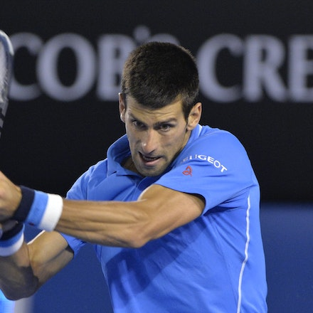 _PB15138 - 2015 30th January. Day 12 of the Australian Open Tennis. Novak Djokovic (SBR) defeats Stan Wawrinka (SUI) 7-6 3-6 6-4 4-6 6-0 Djokovic in action
