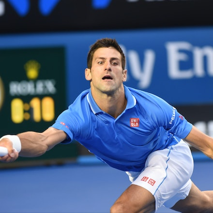 XF3_8976 - 2015 1st February. Day 14 of the Australian Open Tennis. Men's final, Novak Djokovic (SRB) V Andy Murray (GBR) Djokovic in action