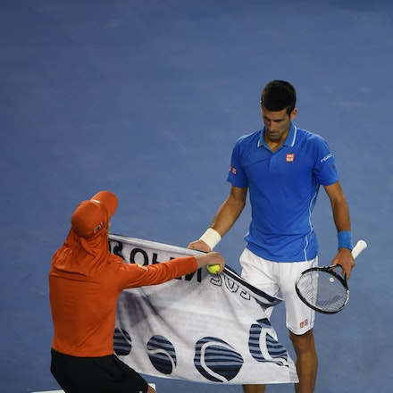 XF3_9126 - 2015 1st February. Day 14 of the Australian Open Tennis. Men's final, Novak Djokovic (SRB) wins the first set from Andy Murray (GBR) 7-6 Djokovic...
