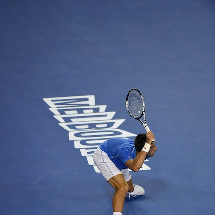 XF3_9155 - 2015 1st February. Day 14 of the Australian Open Tennis. Men's final, Novak Djokovic (SRB) wins the first set from Andy Murray (GBR) 7-6 Djokovic...