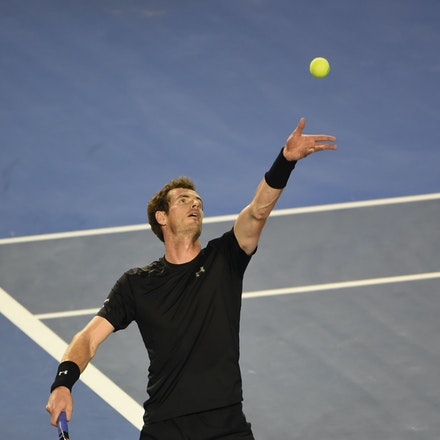 XF3_9209 - 2015 1st February. Day 14 of the Australian Open Tennis. Men's final, Novak Djokovic (SRB) wins the first set from Andy Murray (GBR) 7-6 Murray...