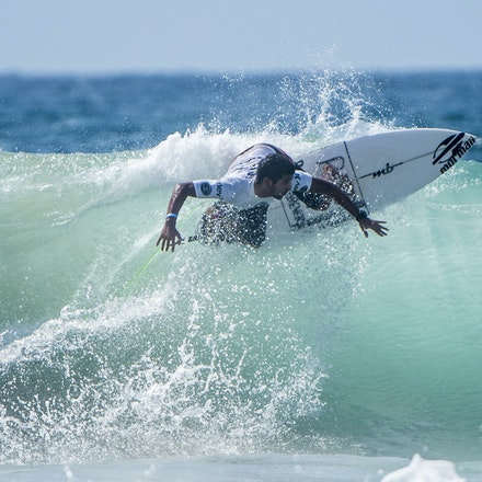 _XF25021 - 2015 14th February. Day 8 of the Hurley Australian Open of Surfing held at Manly Beach. Ian Gouveia (BRA) Michael Rodrigues (BRA) . Rodrigues...