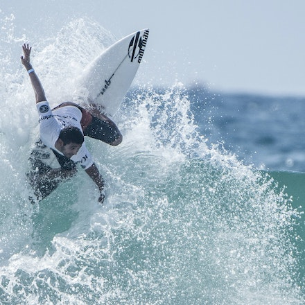 _XF25047 - 2015 14th February. Day 8 of the Hurley Australian Open of Surfing held at Manly Beach. Ian Gouveia (BRA) Michael Rodrigues (BRA) . Rodrigues...