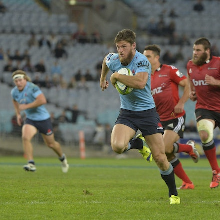 _PB13873 - 2015 May 23, Sanzar Super Rugby, Waratahs V Crusaders. Waratahs defeated Crusaders 32-22, ANZ Stadium, Sydney Olympic Park. Rob Horne makes...