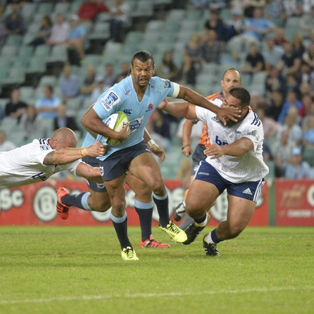 _PB18215 - 2015 28th March. NSW Waratahs Defeat the Blues 23 to 11 at Allianz Stadium. Curtly Beale in action