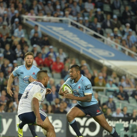 _PB18354 - 2015 28th March. NSW Waratahs Defeat the Blues 23 to 11 at Allianz Stadium. Kurtley Beale in action
