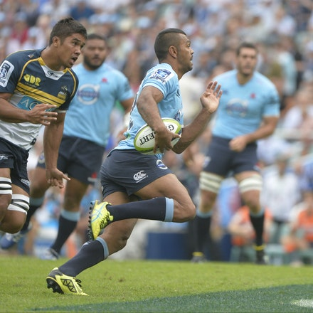 _PB16856 - 2015 22nd March. Waratahs defeat the Brumbies at Allianz Stadium 28-13. Inside Centre, Kurtley Beale in action