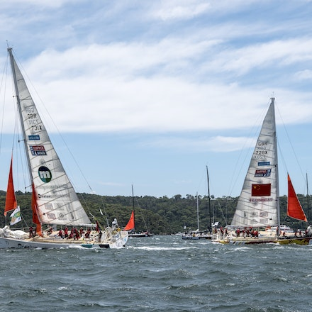 _DSC9374 - 2015 Rolex Sydney to Hobart start. Boats showing off there Storm Sails which is compulsory.