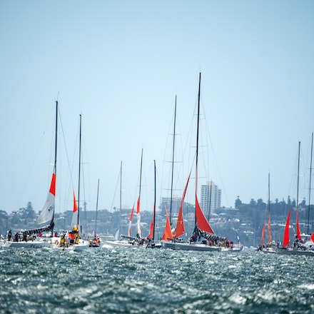 _PB10577 - 2015 Rolex Sydney to Hobart start. Boats showing off there Storm Sails which is compulsory.