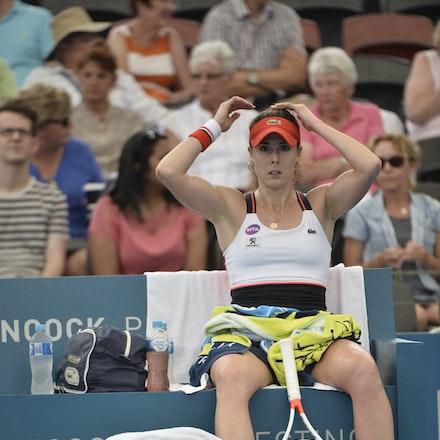 _PB11428 - 4th January 2017, Day 5, Brisbane International Tennis. Alize CORNET (FRA) defeats Dominika CIBULKOVA in straight sets 6-3 7-5 Cornet in action