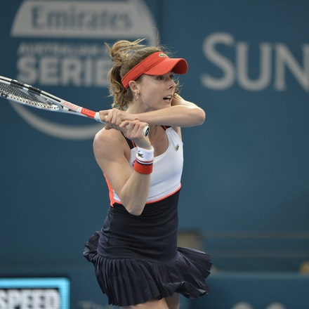 _PB11437 - 4th January 2017, Day 5, Brisbane International Tennis. Alize CORNET (FRA) defeats Dominika CIBULKOVA in straight sets 6-3 7-5 Cornet in action