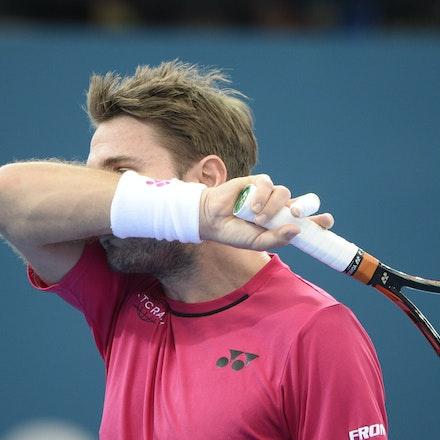 _PB15300 - 7th January 2017, Day 7, Brisbane International Tennis. Kei NISHIKORI defeats Stan WAWRINKA in straight sets 7[7]-6[3] 6-3  Wawrinka in action
