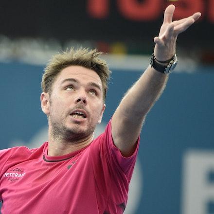 _PB15324 - 7th January 2017, Day 7, Brisbane International Tennis. Kei NISHIKORI defeats Stan WAWRINKA in straight sets 7[7]-6[3] 6-3  Wawrinka in action