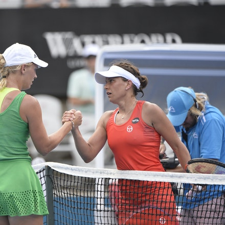 _PB10222 - 11th January 2017, Day 4, APIA International Sydney Tennis. Barbora STRYCOVA (CZE) defeats Caroline WOZNIACKI (DEN) 7-5 6-7 6-4 Wozniacki in...