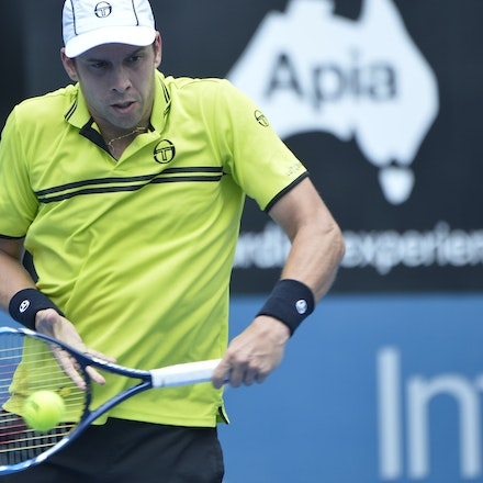 _PB10860 - 12th January 2017, Day 5, APIA International Sydney Tennis. Gilles MULLER (LUX) defeats Pablo CUEVAS 7-6 6-4 Muller in action