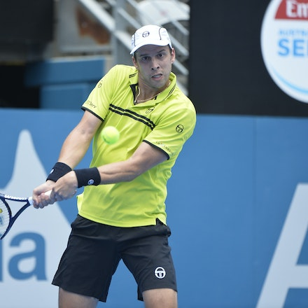 _PB10872 - 12th January 2017, Day 5, APIA International Sydney Tennis. Gilles MULLER (LUX) defeats Pablo CUEVAS 7-6 6-4 Muller in action