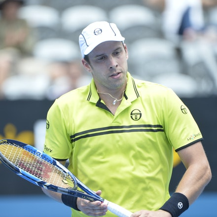 _PB10868 - 12th January 2017, Day 5, APIA International Sydney Tennis. Gilles MULLER (LUX) defeats Pablo CUEVAS 7-6 6-4 Muller in action