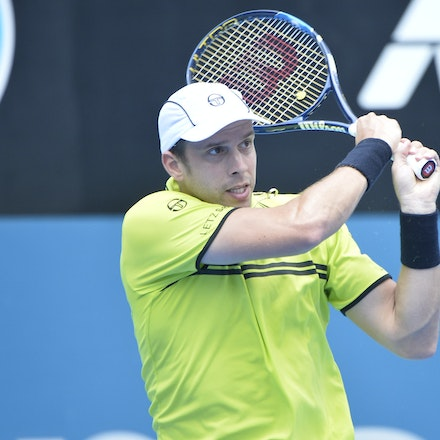 _PB10866 - 12th January 2017, Day 5, APIA International Sydney Tennis. Gilles MULLER (LUX) defeats Pablo CUEVAS 7-6 6-4 Muller in action