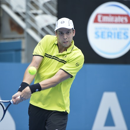 _PB10875 - 12th January 2017, Day 5, APIA International Sydney Tennis. Gilles MULLER (LUX) defeats Pablo CUEVAS 7-6 6-4 Muller in action