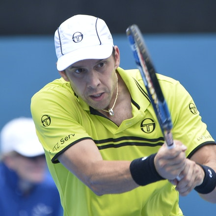 _PB10879 - 12th January 2017, Day 5, APIA International Sydney Tennis. Gilles MULLER (LUX) defeats Pablo CUEVAS 7-6 6-4 Muller in action