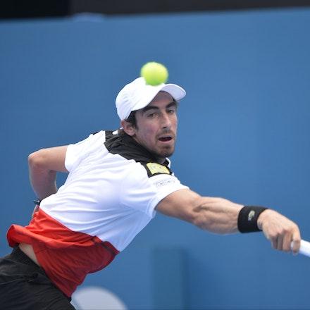_PB10882 - 12th January 2017, Day 5, APIA International Sydney Tennis. Gilles MULLER (LUX) defeats Pablo CUEVAS 7-6 6-4 Cuevas in action