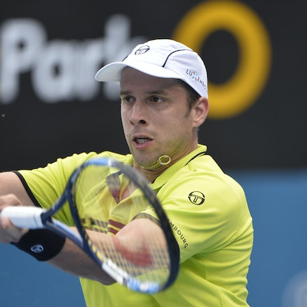 _PB10886 - 12th January 2017, Day 5, APIA International Sydney Tennis. Gilles MULLER (LUX) defeats Pablo CUEVAS 7-6 6-4 Muller in action