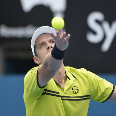 _PB10897 - 12th January 2017, Day 5, APIA International Sydney Tennis. Gilles MULLER (LUX) defeats Pablo CUEVAS 7-6 6-4 Muller in action